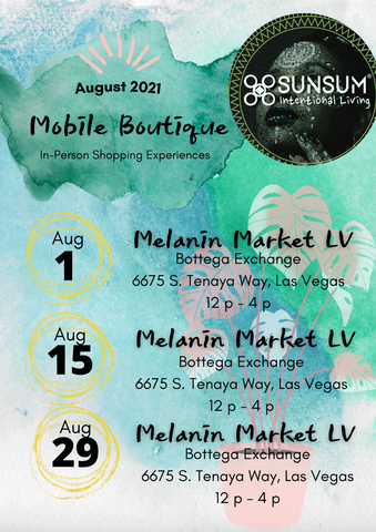 Sunsum Intentional Living Mobile Boutique - August In-Person Events