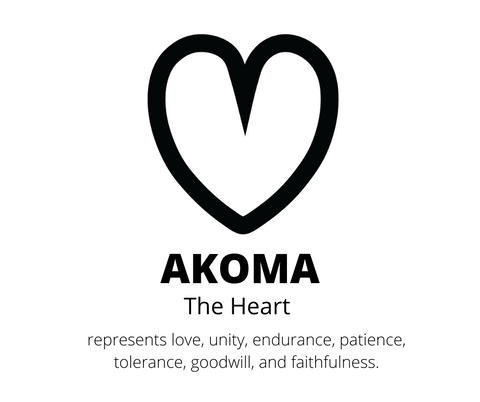 Akoma - The heart, is an adinkra symbol, that represents love, unity, endurance, patience, tolerance, goodwill and faithfulness.