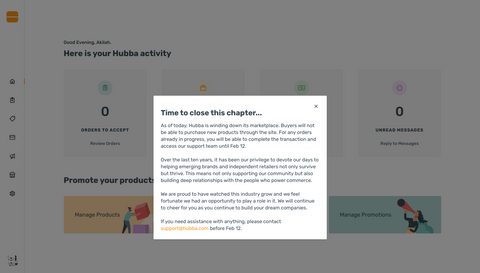 Hubba Wholesale Marketplace is shutting down on February 12, 2021