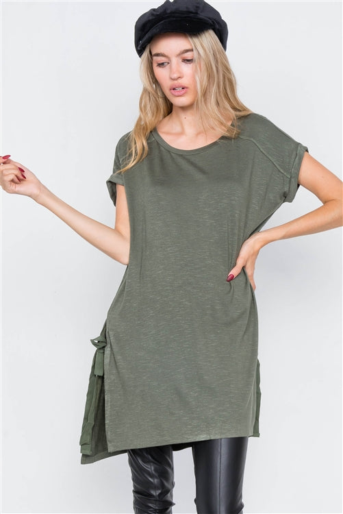Tie Me Up Tunic - Olive