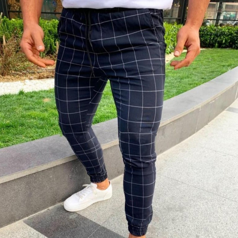 Slim Fit Joggers in Navy Check