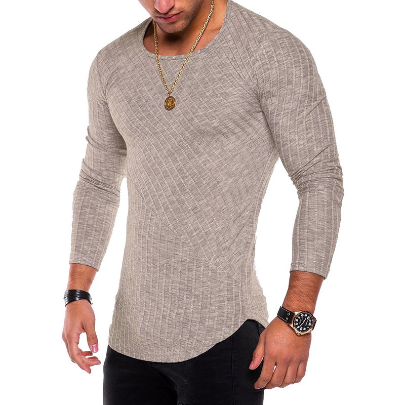 Long Sleeve Shirt with Ribbed Detail in Khaki