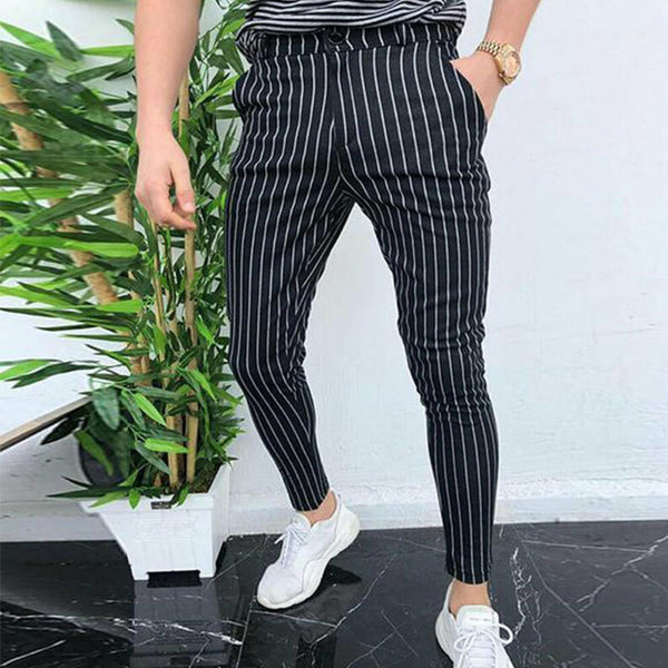 Slim Fit Trousers in Navy Stripe