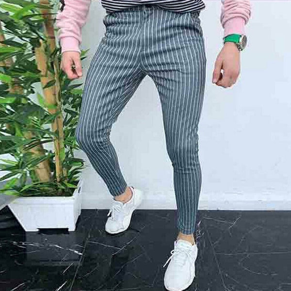Slim Fit Trousers in Grey Stripe