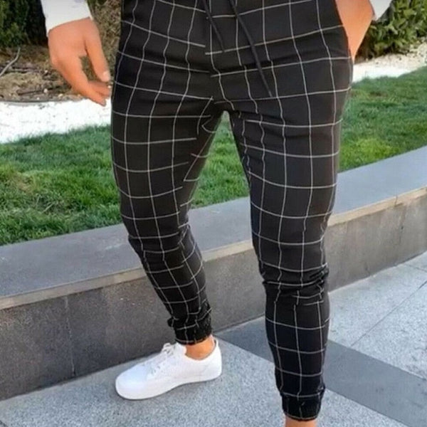 Slim Fit Joggers in Black Check