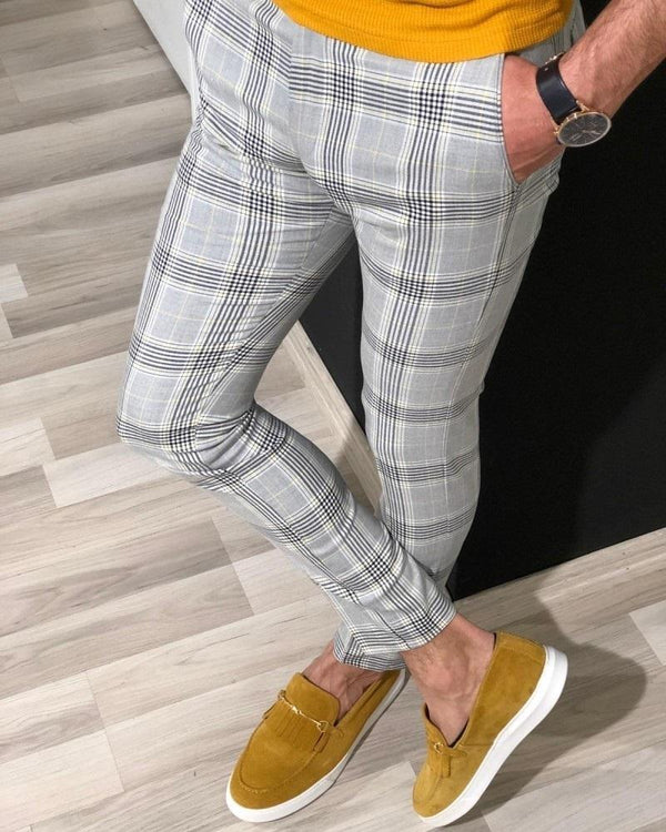 Slim Fit Trousers in Yellow Check
