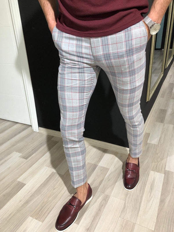Slim Fit Trousers in Red Check