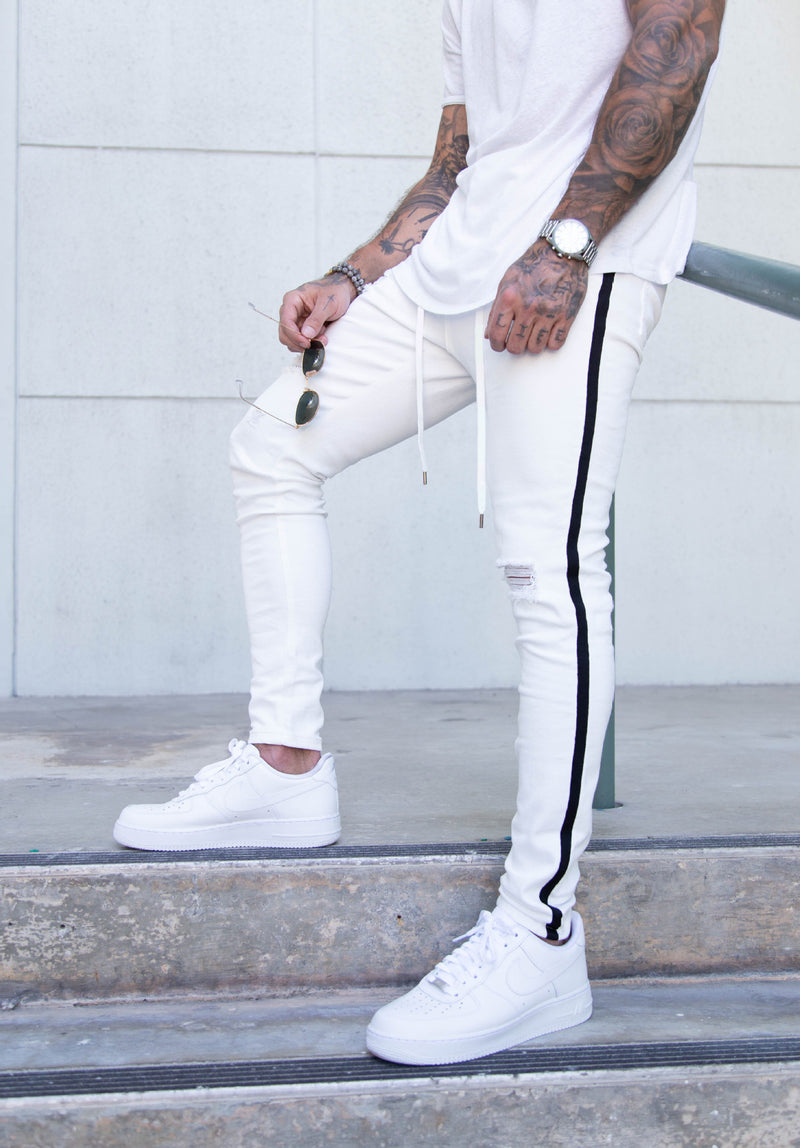 Skinny Ripped Jeans in White