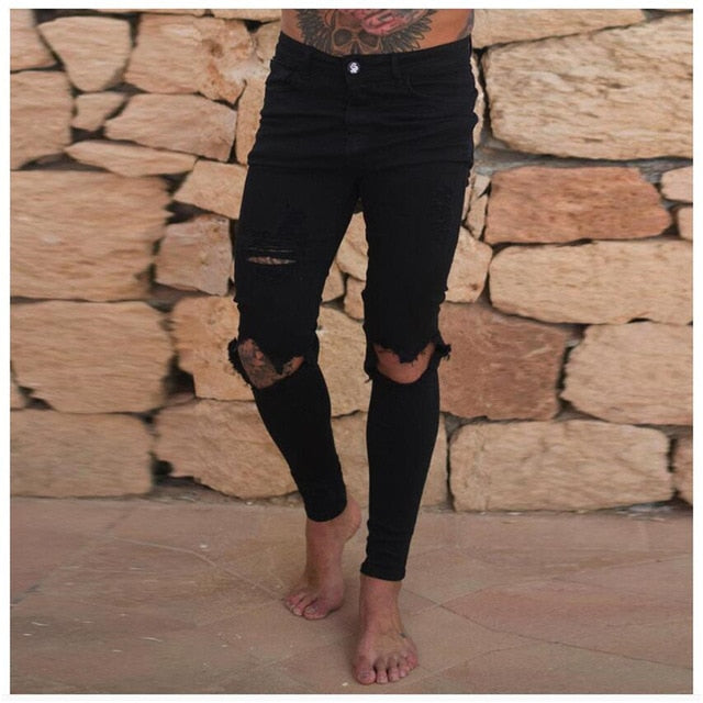 Skinny Distressed Ripped Jeans in Black