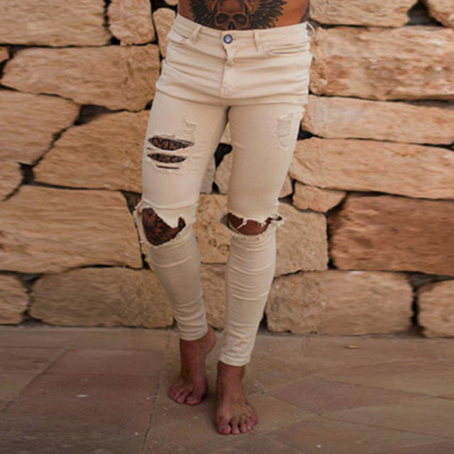 Skinny Distressed Ripped Jeans in White