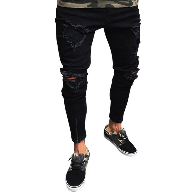 Skinny Jeans with Zipped Hem Detail in Black