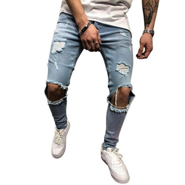 Skinny Jeans with Heavy Rips in Light Blue
