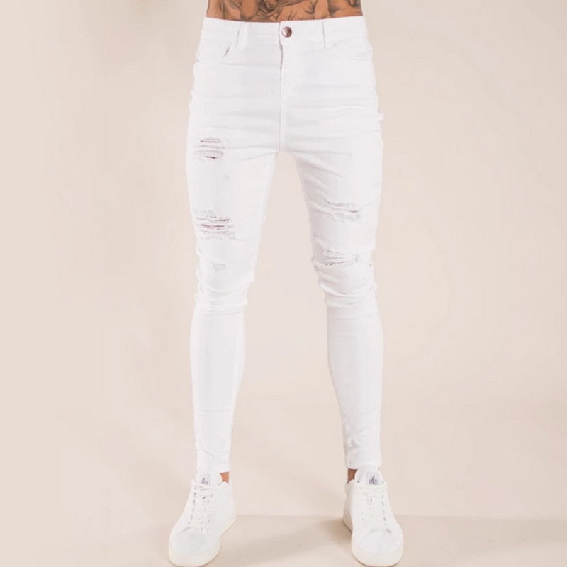 Skinny Jeans with Abrasions in White