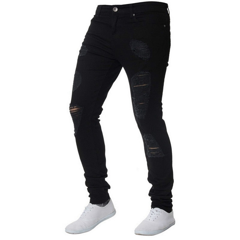 Skinny Distressed Jeans in Black