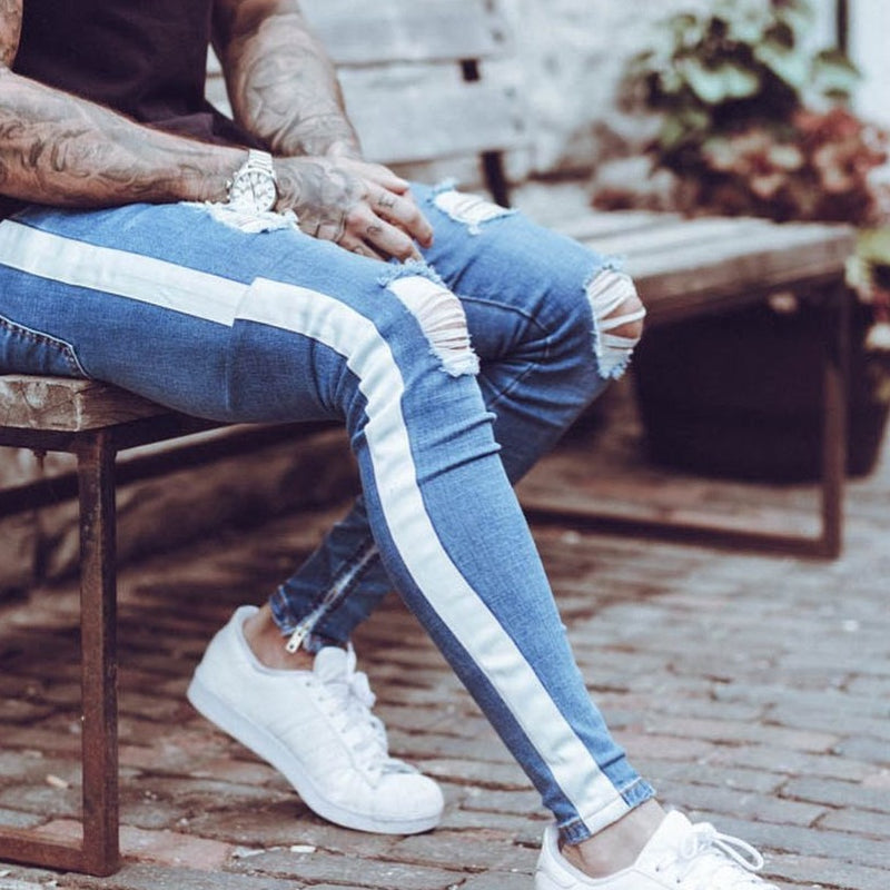Skinny Jeans in Blue with White Side Stripe