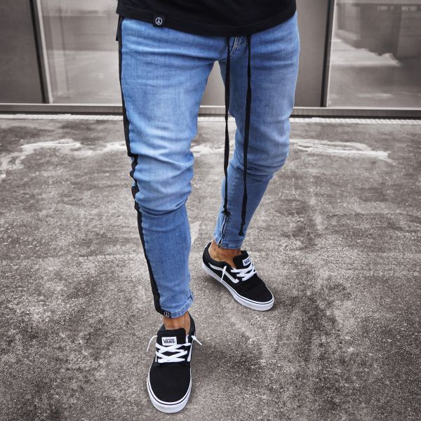 Skinny Jeans in Blue with Black Side Stripe