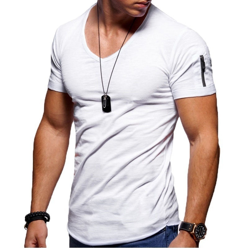 V-Neck T-Shirt in White with Zip