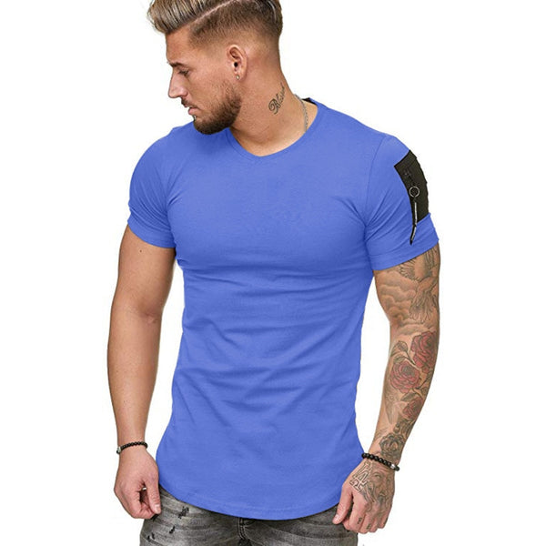 Muscle Fit T-Shirt with Zip Detail in Blue