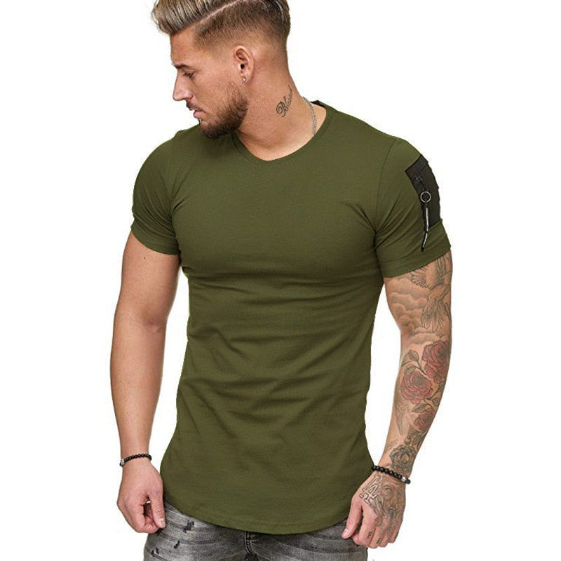 Muscle Fit T-Shirt with Zip Detail in Green