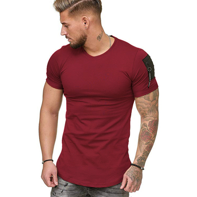 Muscle Fit T-Shirt with Zip Detail in Red