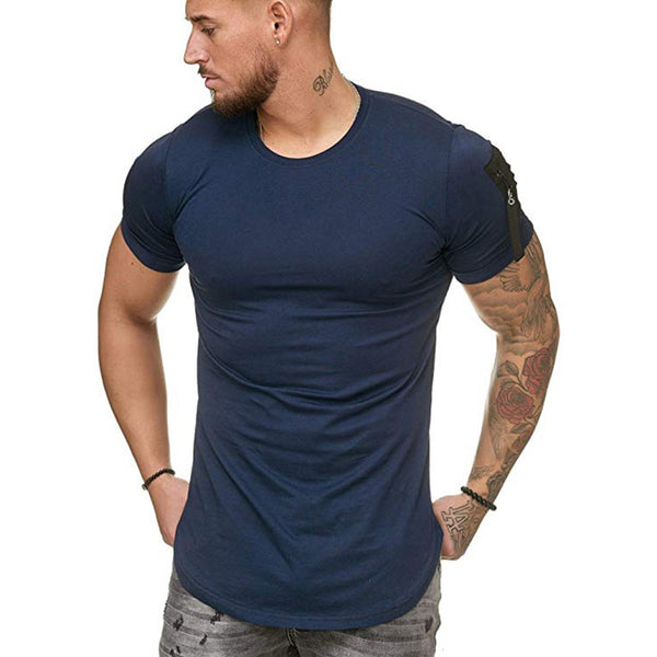 Muscle Fit T-Shirt with Zip Detail in Navy