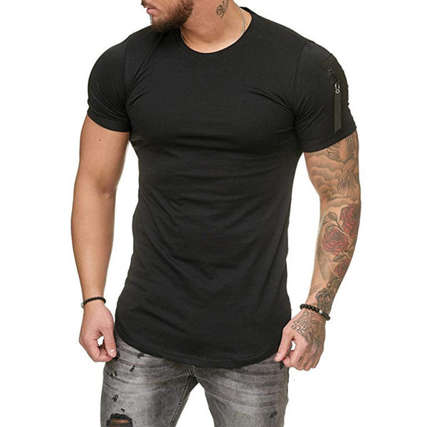 Muscle Fit T-Shirt with Zip Detail in Black