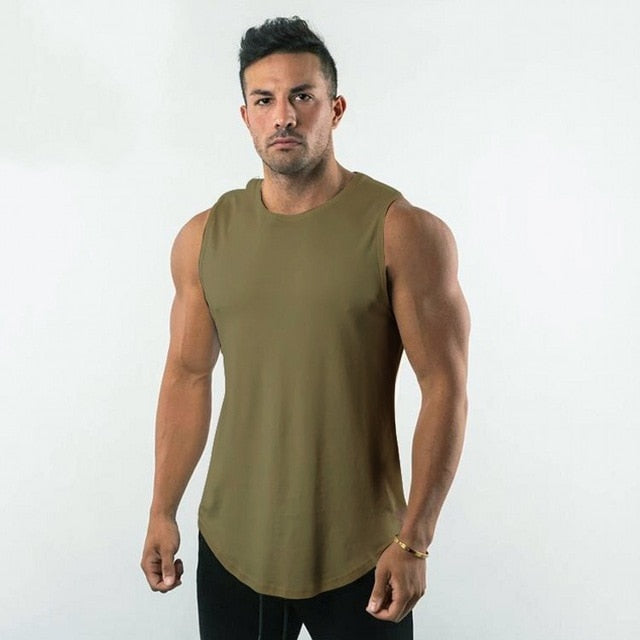 Sleeveless Shirt in Army Green