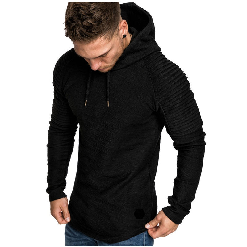 Hoodie with Textured Detail in Black