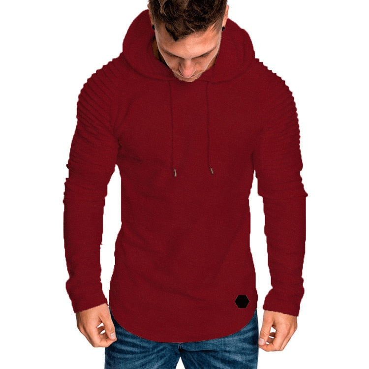 Hoodie with Textured Detail in Red