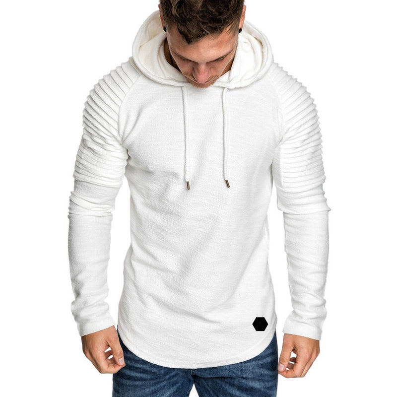 Hoodie with Textured Detail in White