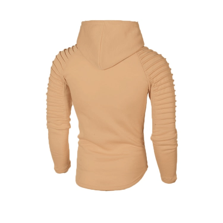 Hoodie with Textured Detail in Tan