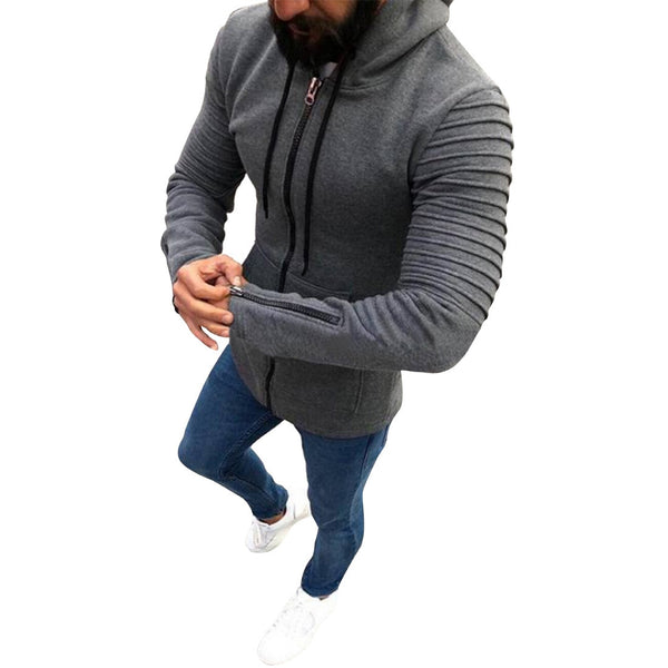 Zip Hoodie in Grey with Textured Shoulders