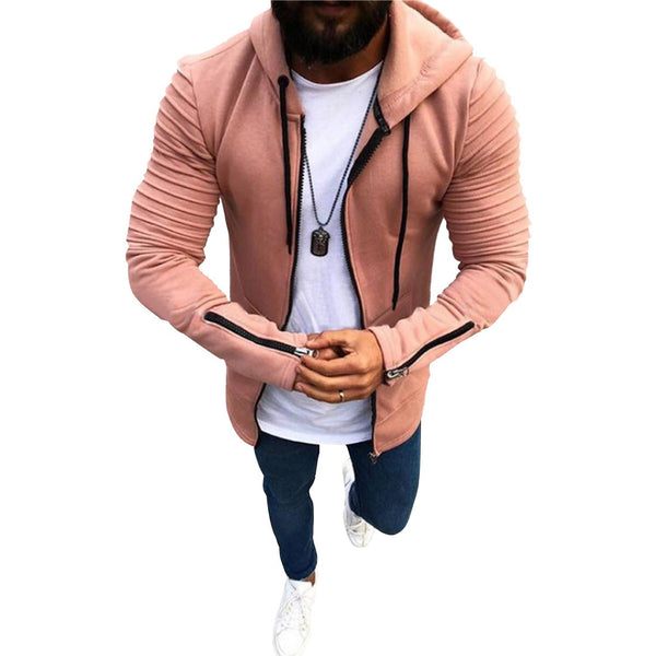 Zip Hoodie in Pink with Textured Shoulders