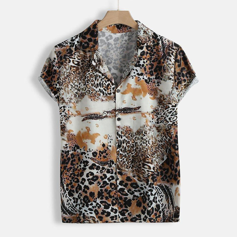 Short Sleeve Shirt with Animal Print