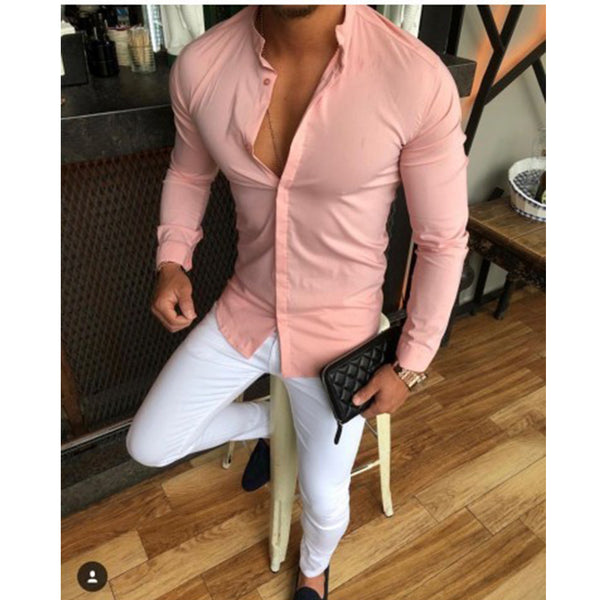 Slim Fit Grandad Shirt in Pink
