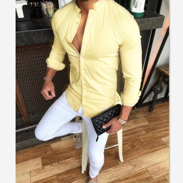 Slim Fit Grandad Shirt in Yellow
