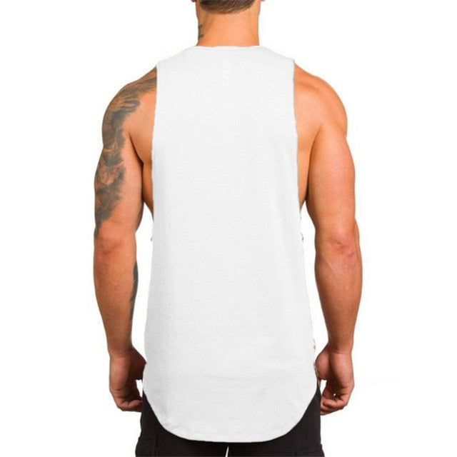 Cotton Sleeveless Shirt in White