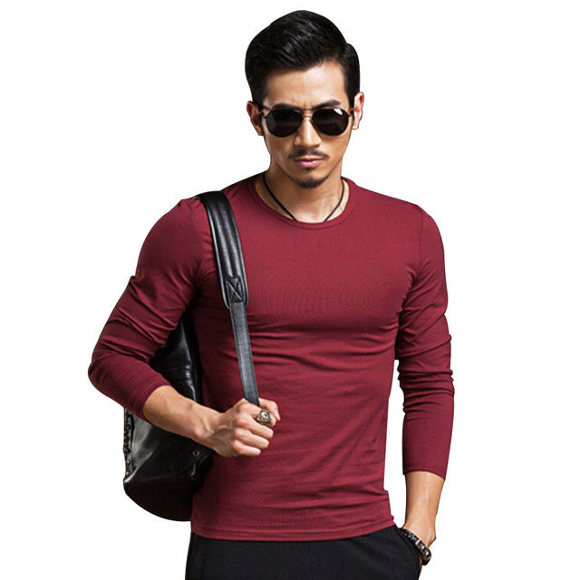 Slim Fit Long Sleeve Top in Red