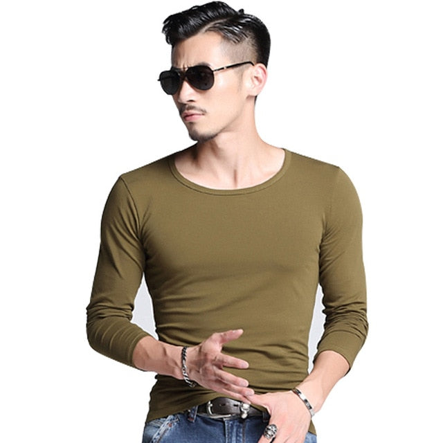 Slim Fit Long Sleeve Top in Green