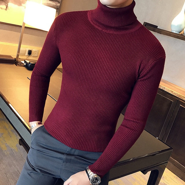 Turtle Neck Jumper in Red