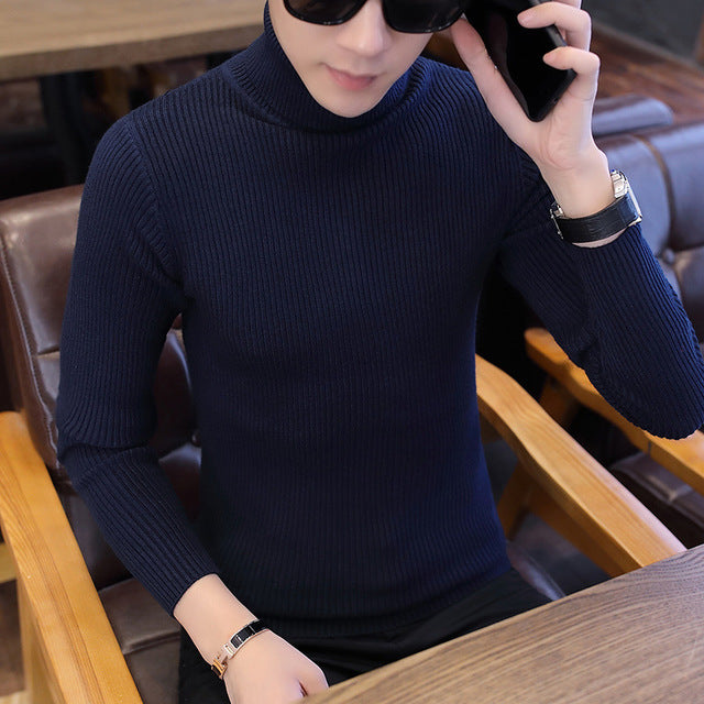 Turtle Neck Jumper in Navy Blue