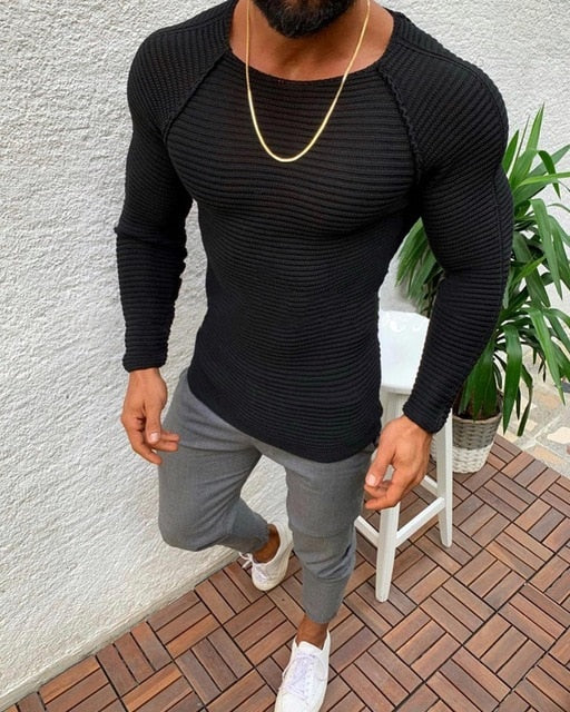 Muscle Fit Knitted Jumper in Black
