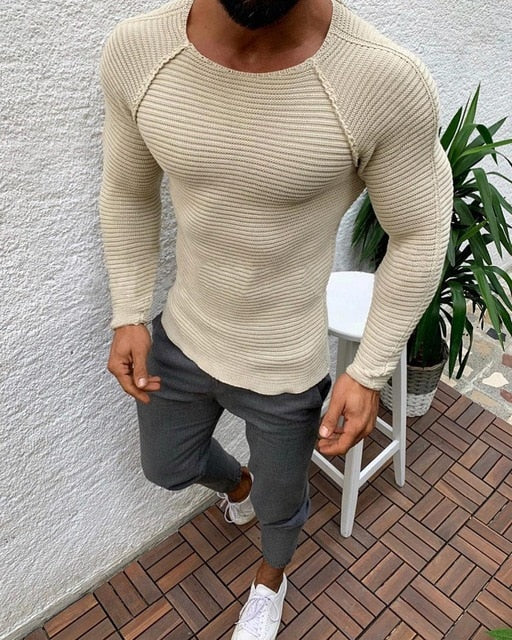Muscle Fit Knitted Jumper in White