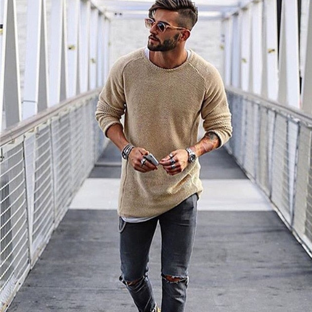 Long-line Jumper in Beige