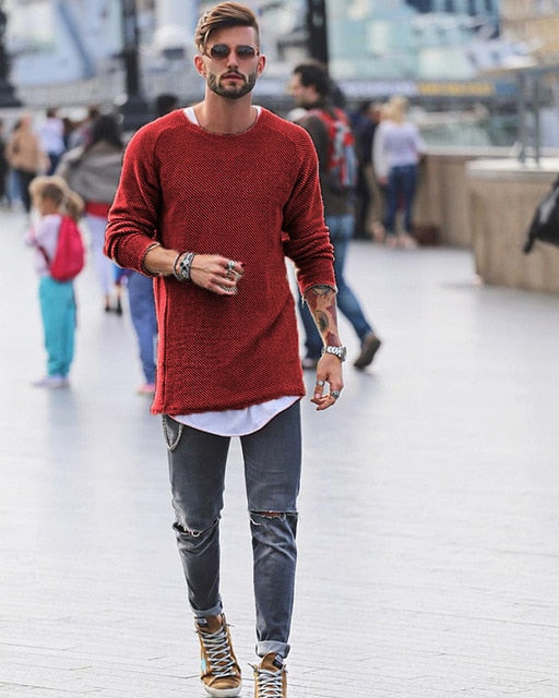 Long-line Jumper in Red