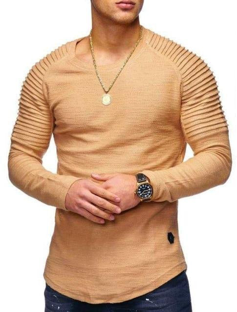 Long Sleeve Shirt with Ribbed Detail in Orange