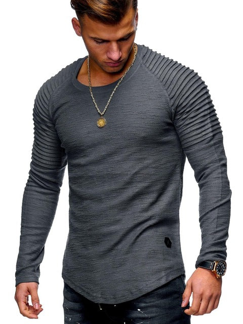 Long Sleeve Shirt with Ribbed Detail in Dark Gray