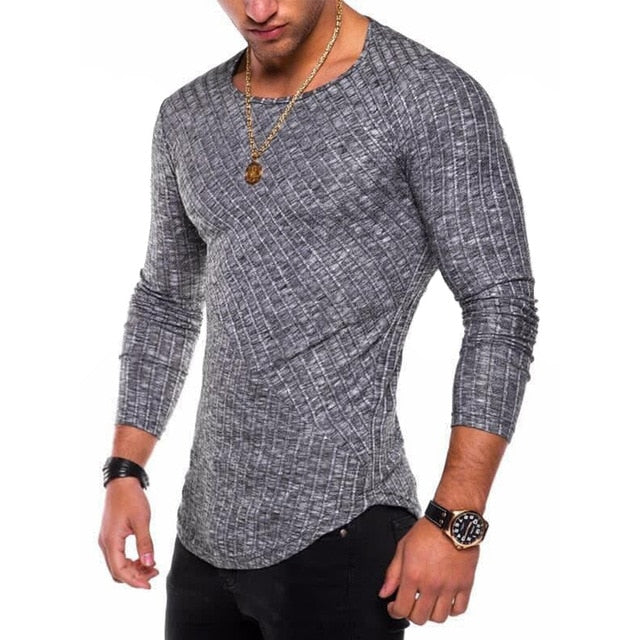 Long Sleeve Shirt with Ribbed Detail in Gray