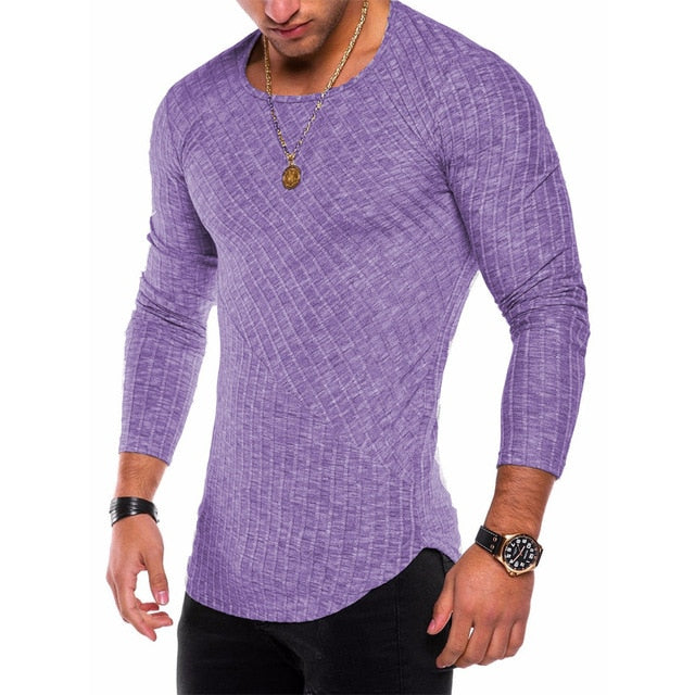 Long Sleeve Shirt with Ribbed Detail in Purple
