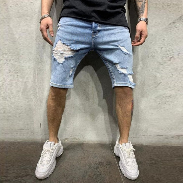 Distressed Ripped Shorts in Blue